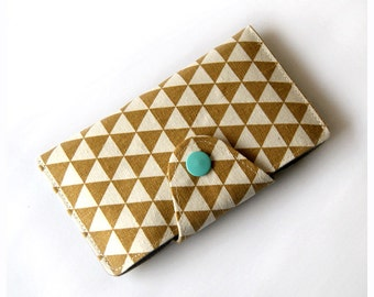 IPhone 6 Case, iPhone 6 Sleeve, iPhone 6 Plus Case, iPhone 6 Plus Sleeve, iPhone Wallet Case, Padded Phone Case - Geometric Triangle (Khaki)