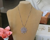 Sterling Silver Woven Art Pendant May Be Worn as a Brooch or a Necklace