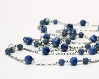 Denim Blue Natural Stone Long Necklace with Denim Lapis, Blue Sodalite and Blue Aventurine Gemstones and Antique Silver Chain