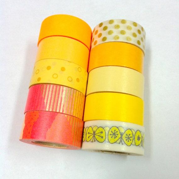mt Washi Masking Tape / Mini Rolls / Limited Edition / Mini new roll in Dip capsule / 10 roll / orange