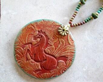 Ceramic Horse Ornament/Wall Hanging, Western, Southwestern Pottery, Terracotta, Gilders Paste, African Brass, Czech Glass, hiddenfirepottery