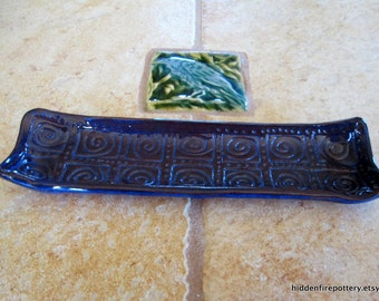 Mini Ceramic Tray with Spirals in Rich Blue, Hand Built, Terracotta Pottery, Trinkets, Jewelry, Olives, hiddenfirepottery