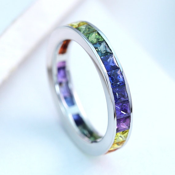 LGBT Pride Eternity Ring Wedding Band Sterling Silver Unisex Unique