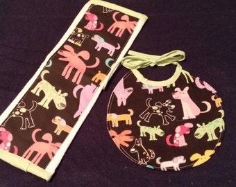 Animal Burp Cloth and Bib Set