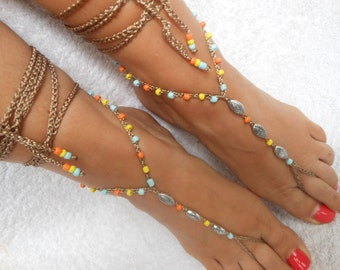Crochet Barefoot Sandals Beach Wedding  Yoga Shoes Foot Jewelry Silver Orange Yellow Blue