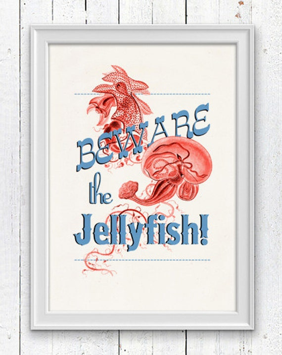 Beware the jellyfish Poster - Wall decor poster , sea life print -Marine  sea life illustration A4 print- vintage natural history SPA024
