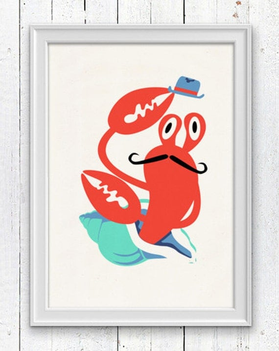 Nursery room wall Art Print - Hermit crab with moustache - Sea animal illustration wall decor - Nursery room modern  decoration SPNR011