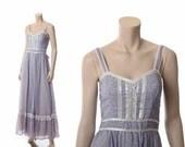 Vintage 70s Gunne Sax Gauze Dress 1970sLavender Hippie Festival Western Wedding Prairie Sundress Maxi Long Dress / XS/S