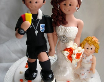Personalised Bride & Groom Football Referee Sports theme wedding cake topper - Football Soccer theme wedding cake topper
