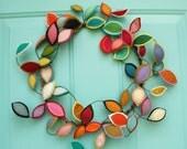 Bright Spring Wreath - Felt Leaf Wire Wreath - Year Round Wreath - Modern Bohemian Wreath - Boho Decor - Made to Order