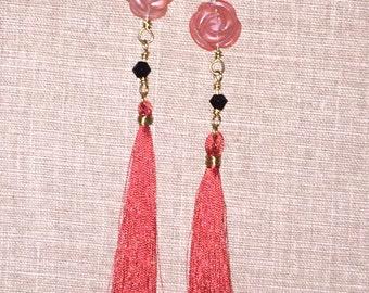 Rusty Rose tassel earrings