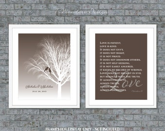Wedding Couples Art Gift Personalized Art Prints, Love Quote Scripture, Bridal Shower // Brown // Set of (2) 5x7, 8x10 OR 11x14