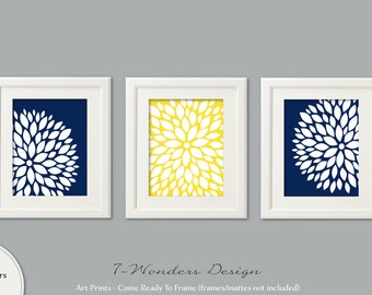 Navy Blue Flower Bursts Art Prints, Dahlia Wall Art Set of (3) 5x7, 8x10 OR 11x14 // Bedroom Bathroom Modern Home Decor, UNFRAMED