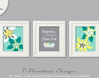 Bathroom Art Prints, Happiness is a Long Hot Bubble Bath, Flower Art Prints Set of (3) 5x7, 8x10 or 11x14// Teal, Yellow, Grey UNFRAMED