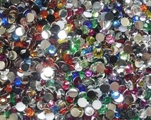 500 Rainbow Faceted Acrylic Rhinestone Gems, round, flatback cabochons, size 3mm, great for nails, cards, body art & more R03
