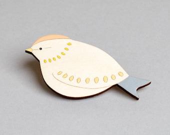 Wooden Bird Brooch - Firecrest