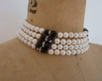 80's Choker Pearl and Jet Beads /Rhinestone Wheel Beads 4 Strand Bride's Necklace Adjustable
