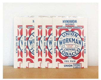 Set of 5 Unused Union Workman Chewing Tobacco Pouches