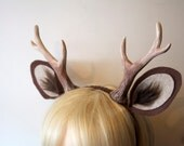 """RESERVED for Lacey Acuff/ Dark Brown 6"""" Antlers and Ears"""