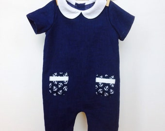 Baby boy linen romper Linen romper Peter Pan corall romper Baby boy clothes 1st birthday suit Baby Summer suit Anchor print