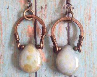 Horseshoe and moondrop earrings