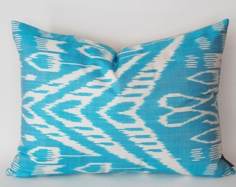 Turquoise White Decorative Pillow Cover, Silk İkat Pillow, Throw Pillow,Handmade Pillow, İkat Cushion Cover