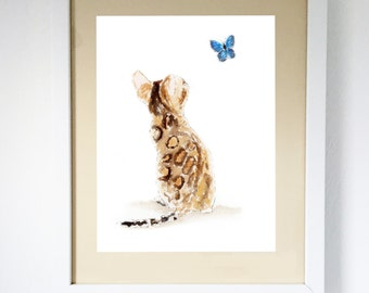 Bengal Cat & Butterfly, Art Print  Unframed Print #131