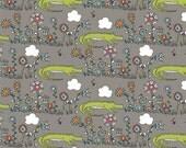 Lurking Birch Fabrics - 1/2 Yard - Picnic Whimsy by Rebekah Ginda - Birch Organic - Organic Cotton - Alligators Gray Fabric Flowers Garden