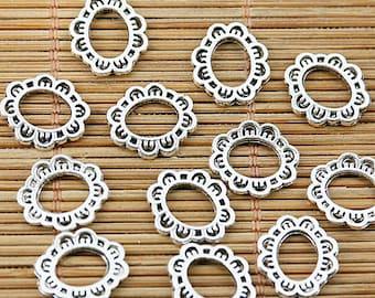 80pcs tibetan silver color oval shaped floral rim frame bead EF1474