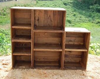 Modern Book Shelf / Wall Unit/ Modular Bookcase / Apple Crates