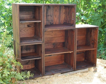 Modern Book Shelf / Wall Unit/ Modular Bookcase / Apple Crates