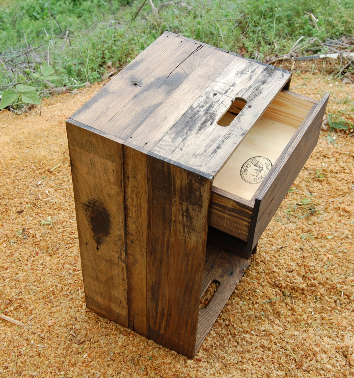 Wooden crate nightstand side table drawer reclaim wood