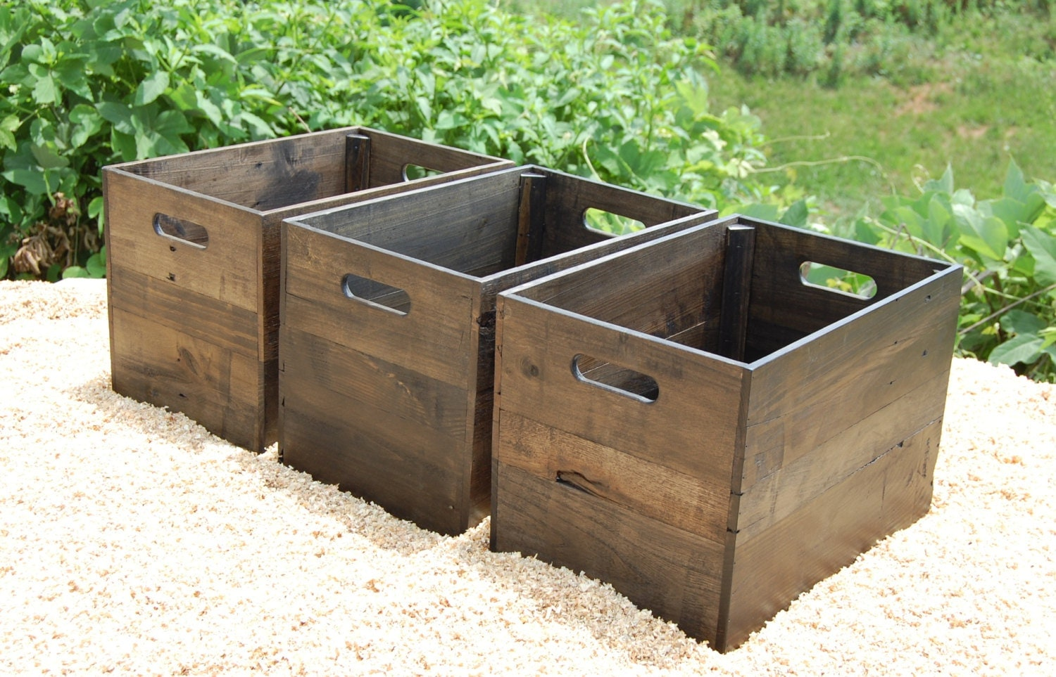 set of three wood crates reclaimed wooden crates storage. Black Bedroom Furniture Sets. Home Design Ideas