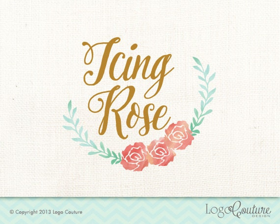 Items similar to premade watercolor floral logo icing