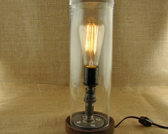 Industrial Pipe Edison Bulb Lamp With Glass Cylinder - Industrial Vintage Light Fixture -  Marconi Filament Edison Bulb - Black Iron Pipe
