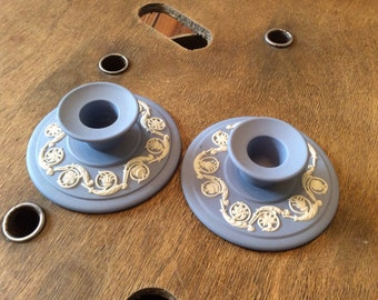Wedgwood Candlestick Holders - Blue Collectable Candle Holders