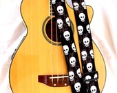 Geekly Skulls on Black Guitar Strap