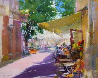 Colorful Art Original Oil Painting, Summer Cafe Painting, City Painting, Summer Artwork Cityscape Canvas Wall Art