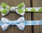 Boys Argyle Bow Tie- Toddler Bow Tie- Adjustable Velcro Strap- Lime Argyle Bow Tie