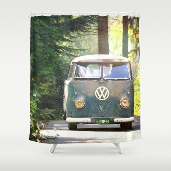 Where Can I Buy A Volkswagen Bus: Fabric Shower Curtain Classic Retro VW Bus Camper Peace