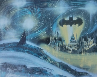 Starry Night Batman - Spray Paint Art