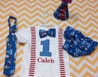 Personalized Birthday Shirt, diaper cover, hat, tie set