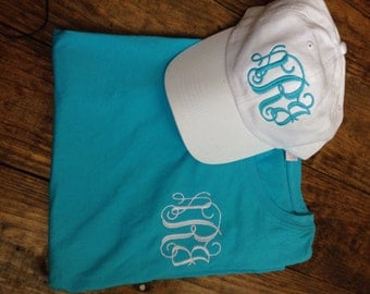 Monogrammed Tee Shirt & Hat Set adult and Youth Sizes