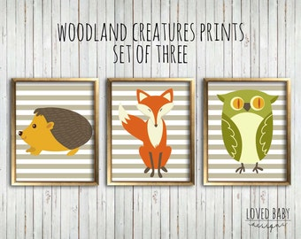 Woodland Creatures Nursery Prints, Tan Stripes, Set of Three - Instant Download, Printable