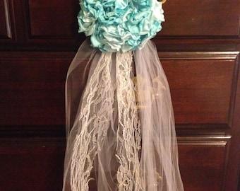 hanging wedding decor chair tie fabric flower lace upcycled vintage shabby chic decor mint aqua blue lace wedding church pew aisle decor