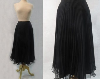 Black Accordion Pleated Chiffon Skirt