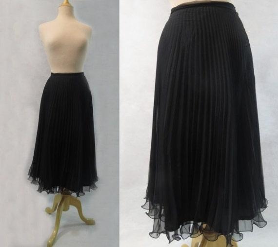 black accordion pleated chiffon skirt by louisaameliajane