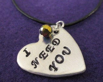 """Beatles """"I Need You"""" leather necklace"""