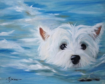 NEEDLEPOINT CANVAS PRINT Swimming Westie West Highland Terrier Dog Art by Mary Sparrow white puppy face canine portrait painting