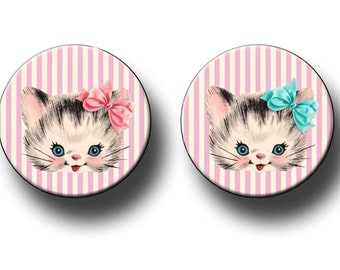 Kitten Kitty Birthday Party Favors 2.25 inch pinback button or flatback button, pin badge Cat Theme Party